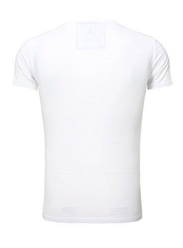 Akito Tanaka T-Shirt Herren Printshirt Slim Fit Skull Männer Totenkopf  Samurai Weiß 0f75421330