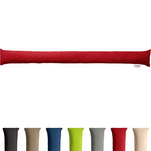 REDBEST Zugluftstopper - Türstopper - Windstopper - Luftzugstopper - Windschutz - für Fenster und Türen - Premium-Qualität - mit Beschwerung - rot - Größe 90x10 cm