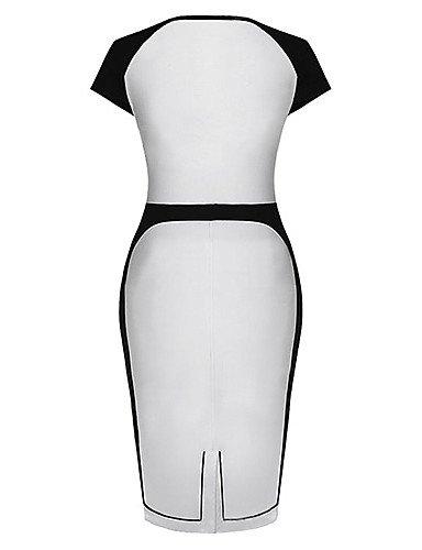 PU&PU Robe Aux femmes Grandes Tailles / Vintage / Soirée / Travail / Décontracté / Plage U Profond Mi-long Coton / Mélanges de Coton white-2xl