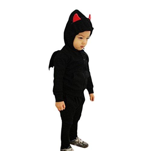 kleiner Teufel sweatshirt kinder sport hosen pullis Kostüm sets,1-6Jahren (3 Jahren, Schwarz) (Baby Mädchen Teufel Kostüm)