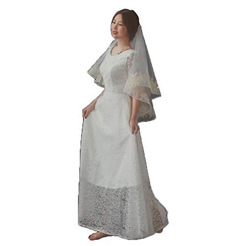 Zcm velo da sposa, new gold lace 1.5m lungo singolo strato velo corto abito da sposa accessori