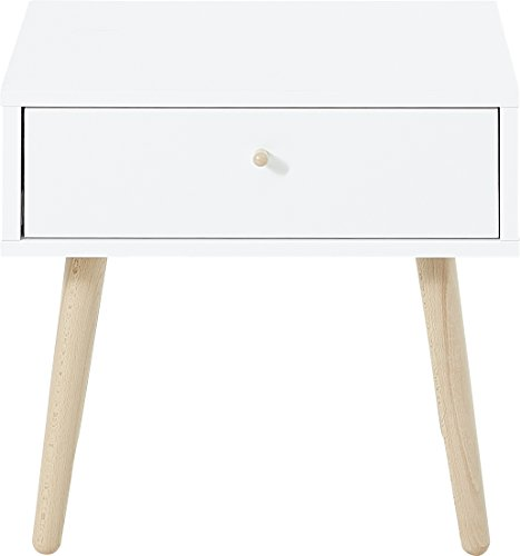 Table d'appoint Germania 2490-84 GW-Senja, design scandinave, avec tiroir, en blanc, 46 x 47 x 40 cm (LxHxP)