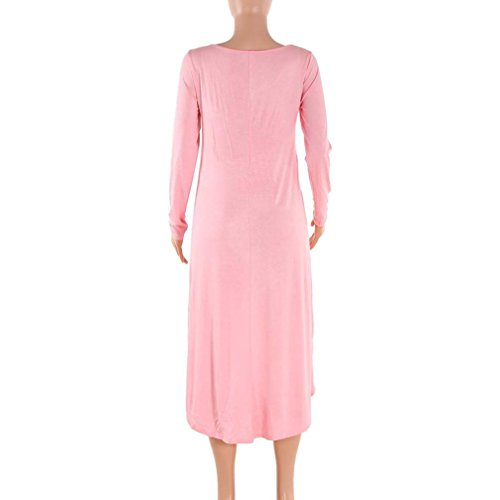 Malloom Femmes manches longues Irrégulier O-Neck  Robe de soirée Rose