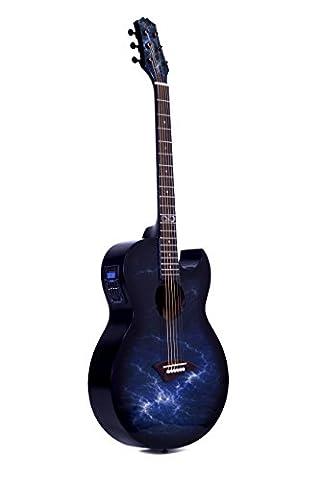 Lindo ORG-SL Schlanke Elektro-Akustische Gitarre mit Vorverstärker und integriertem Stimmgerät sowie Zubehör, (Yamaha Akustik-gitarren Saiten)