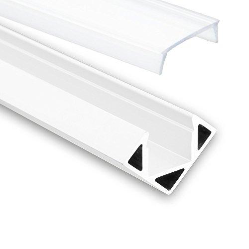 LED Aluminium Profil P23 Pollux f. LED Streifen Eckprofil Aluprofil (2 Meter Opal weiß)