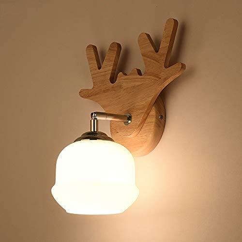 ACZZ Moderne Einfache Holz Wandleuchte Licht Japanischen Stil Kreative Natürliche Box Glas Wandleuchte Laterne Wandstrahler Nordic Schlafzimmer Nachttischlampe für Wohnzimmer Gang Treppe Bar Club Hot