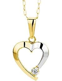 Miore Damen-Halskette Herz 375 Gelbgold Zirkonia farblos 45 cm