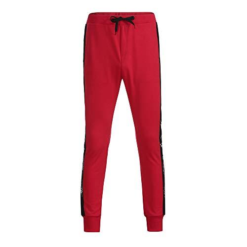 Celucke Freizeithose mit elastischem Beinabschlus | Seitlich gestreifte Jogginghose Herren | Männer Trainingshose Slim Fit | Mode Jogger Sweatpants