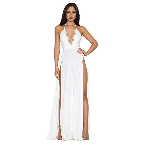 8f2fec4e67a2f Staresen Womens Long Dress Sexy Suspender Sleeveless V Neck Party Dress,  Lady Solid Color Lace Plunging Slit Backless Maxi Dress Elegant Cocktail  Prom ...
