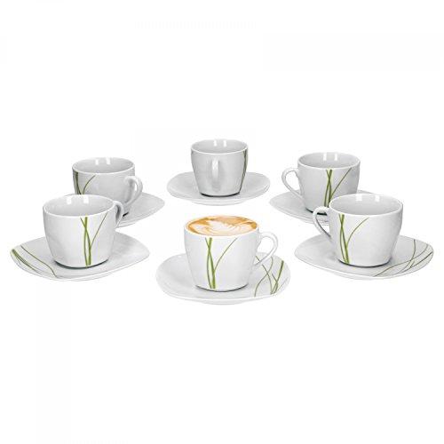 Van Well Bali 6er Set Kaffeetasse + Untertasse, Kaffee-Set, Liniendekor, edles Marken-Porzellan -