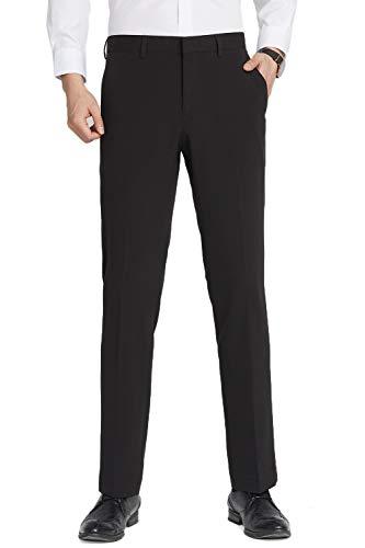 INFLATION Herren Anzughose Straight Leg Stretch Slim Fit Überöße Schwarz Hose 32W x 32L