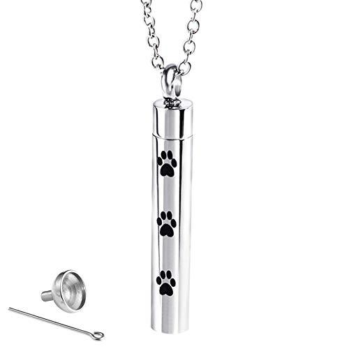 für Haustiere, mit Hundepfotenabdruck-Motiv, für Asche, Medaillon - Silber ()