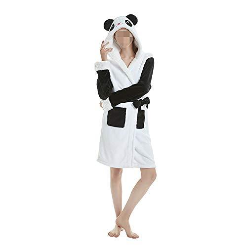 DISCOUNTL Hundepullover mit Sternmotiv, Regenbogen/Himmel/Pferd, Cartoon-Tier/Panda-Strickjacke, niedliches Nachthemd, Einhorn-Kostüm für Erwachsene, Übergröße Gr. Medium, Panda Bademantel