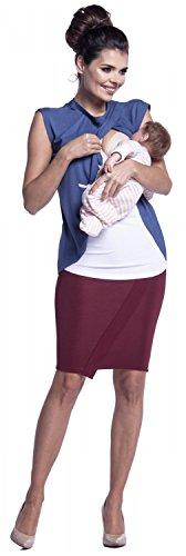 Zeta Ville - Damen Wickeln-Zweilagiges Still Top Schwangere Flügelärmeln - 448c Blau Jeans