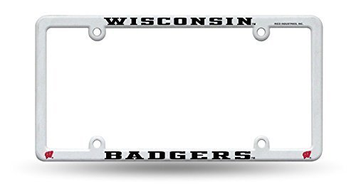 University of Wisconsin Badgers White Plastic License Plate Frame by Rico