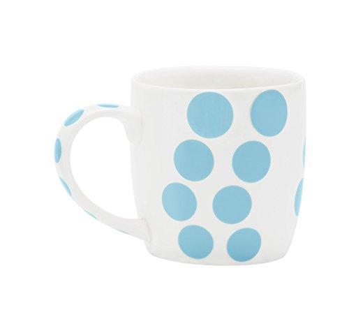 Zak Designs 2240-1590 Mug en Porcelaine 35cl-Blanc/Dot Bleu Ciel, Châtaigne