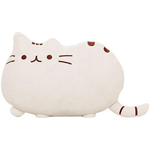 YunNasi -Piccoli giocattoli farciti peluche cuscino Pusheen bambola cuscino carino e morbido Colore:bianco , lunghezza 40cm ,altezza 30cm