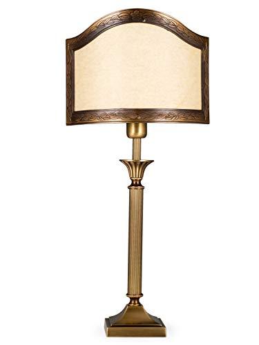 Helios Leuchten 403776/3 Vintage Lampe Leuchte | klassische Jugendstil Tischleuchte Tischlampe | Retro Schreibtischlampe echt Messing antik Altmessing | Halb-Lampenschirm Pergament | 1xE14 -