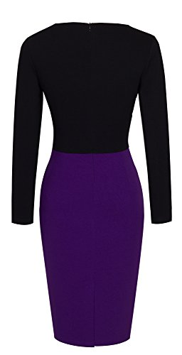 HOMEYEE Women's Elegant Long Sleeve Keen Length Slim Bodycon Casual Formal Vintage Dress B342 (UK 12 = Size L, Purple)