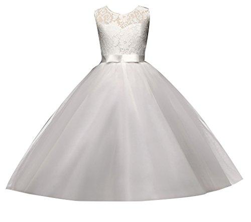 Mädchen Lange Spitzenkleid Tüllkleid Blumenspitze Prinzessin Kleid Hochzeit Partykleid Brautjungfern Abendkleider 130cm 4Weiß