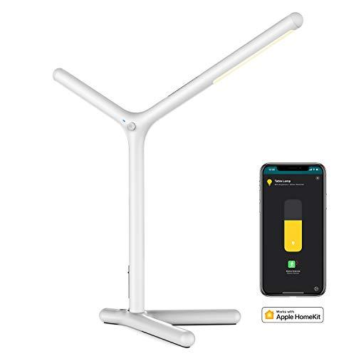 Lampada da Scrivania intelligente,iHaper DL1 Dimmerabile Lampada da Tavolo Ufficio LED,Occhi-Cura and Induzione del corpo umano ,Supporta Siri Apple HomeKit