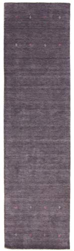 CarpetFine: Gabbeh Uni Läufer Teppich 75x200 cm Grau - Einfarbig -