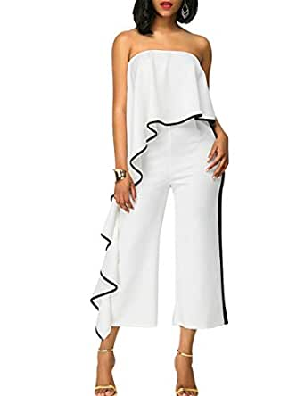 Alician Women Sexy Off-Shoulder Loose Jumpsuits Delicate Wide Legs Pants