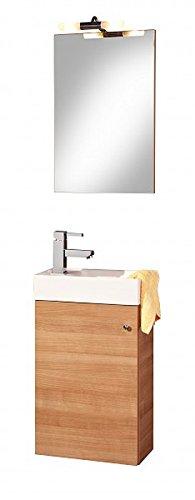 Waschplatz BOLOGNA mit Waschbecken für Gäste WC Farbton Buche Tabak