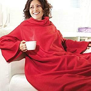 Premium Kuscheldecke mit praktischen Ärmeln - perfekte Wärmeisolierung (140 x 180 cm) Rot - Ärmeldecke Fleece Wärmedecke Plaid -