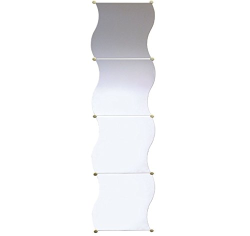 4 Stück, leicht gewellt aus Glas, zur Wandbefestigung, Bad, Flur, Schlafzimmer-Spiegel Fliesen-SCHRAUBE