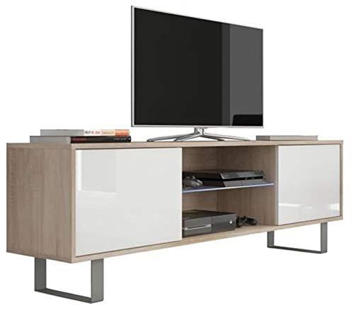PEGANE Meuble TV Coloris Sonoma/Blanc Brillant en Panneaux de Particules avec éclairage LED - Dim : 160 x 36 x 53 cm