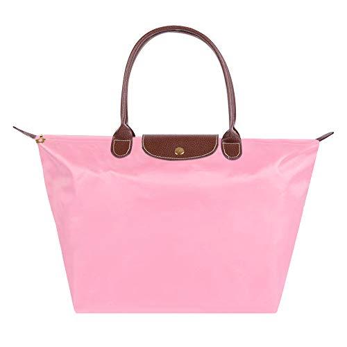 ZhengYue Cabas en Oxford Pour Femme Sac à Bandoulière de Pliage Grande Capacité Sac a Main Sac de Shopping pour Femme (L, Pink)