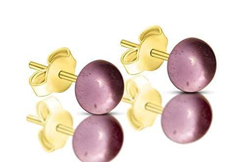 Orecchini Ametista in vetro di Murano, Creazioni Pireta, placcato in oro 18k, anallergico, fatto a mano, hand made, Made in Italy, orecchino a bottone, regalo perfetto per lei.