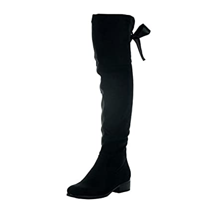 Angkorly - Women's Fashion Shoes Thigh Boot - Cavalier - Soft - Satin lace Block high Heel 3.5 cm 1