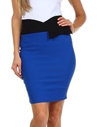 Sakkas Scallop High Waist Stretch Pencil Skirt with Bow