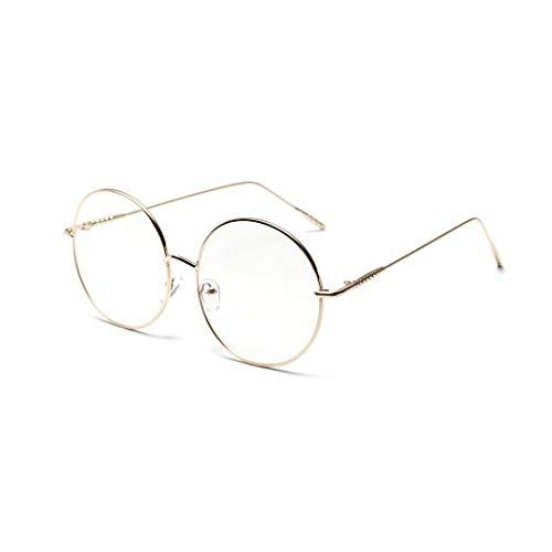 MAGAI Übergroße Metallrunde Flache Spiegel-weibliche dünne Rahmen-Gläser (Farbe : Golden)