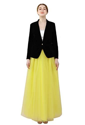 FOLOBE Damen 1950 Vintage Puffy Tutu Röcke Brautjungfer 6 Schichten Petticoat Slip - Gelb - Einheitsgröße Taft Slip