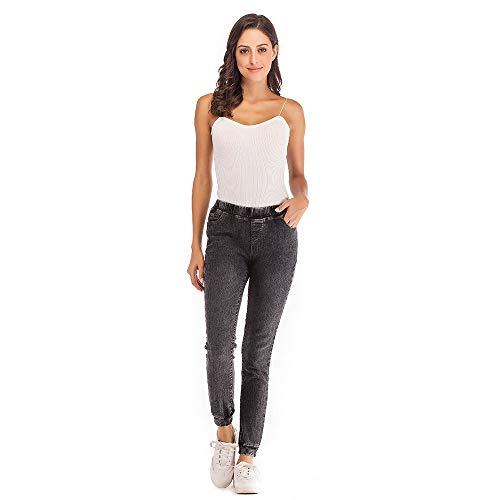 Pantaloni donna,meibax jeans corti casuali in denim elasticizzati più elastico,a tinta unita,elegante pantaloni larghi taglie forti,casual,autunno 2018