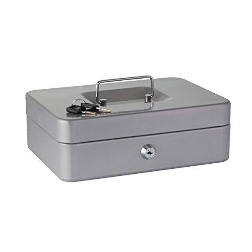 axentia Geldkassette in Silber, Geldbox mit Schloss, mittel große Kasse für Geld-Scheine, Geldkasse mit Euro-Sortiereinsatz, Geldschatulle mit Schlüssel und Tragegriff