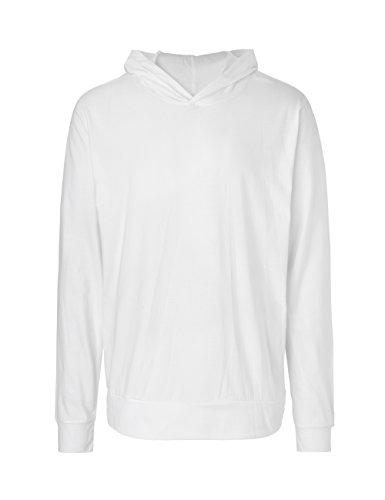 Green Cat Langarm T-Shirt mit Kapuze, Unisex, 100% Bio-Baumwolle. Fairtrade, Oeko-Tex und Ecolabel Zertifiziert Weiß