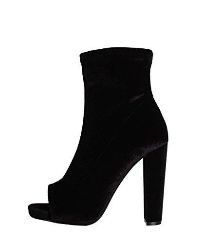 Steve Madden Esspecial Black Velvet Boots - Stivaletti Neri Pelle Scamosciata Punta Aperta