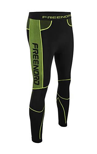 Freenord Powertech EVO Herren Thermoaktiv Laufhose Sporthose Lang Outdoor Radsport Running (Schwarz/Grün, XL)