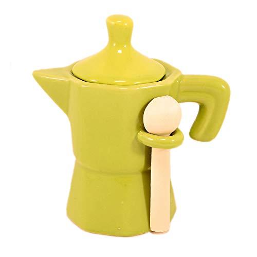 www.lefantasiedicasa.com Zuccheriera a Forma di Moka caffettiera Verde Barattolo in Ceramica con cucchiaino in Legno.
