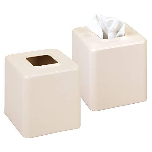 mDesign Juego de 2 cajas para pañuelos de papel – Caja para toallitas para baño, dormitorio o cocina – Dispensador de pañuelos de metal – Preciosas cubiertas para cajas de pañuelos – vainilla mate