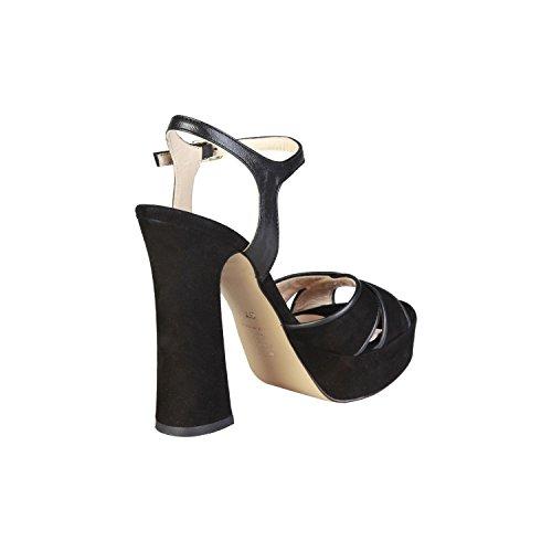 PIERRE CARDIN PIERRE CARDIN EW-1013 Sandali Donna Con Cinghia Regolabile Alla Caviglia Tacco: 13 cm, Altopiano 4 cm Nero