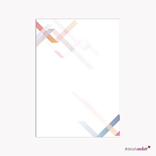 easydruck24de 1 Set Briefpapier Geometrie I DV_021 I Din A4 I 50 Blatt I Motiv-Papier Bunt Weiß Blau Orange I Modern Geometrisch I Ohne Umschlag