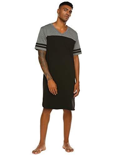 Nachthemd Herren Schlafanzug V-Ausschnitt Kurz nachthemden männer Schlafshirt Einteiliger Sommer kurzarm Schwarz M