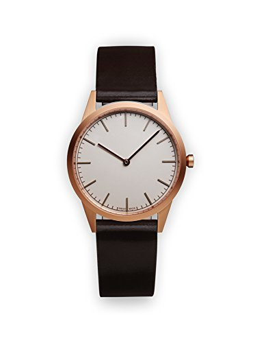 Uniform-Wares-C35-PVD-Rose-Gold-Shell-Cordovan-Unisex-Quartz-Watch-with-Grey-Dial-Analogue-Display-And-Brown-Leather-Strap