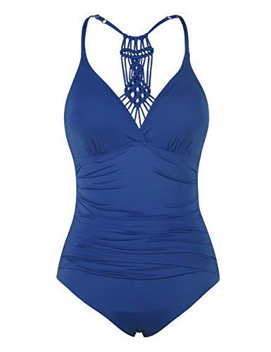 Hilor Damen Einteilige Badeanzug Falten Bademode Macramé Schwimmanzug Neckholder Monokinis Balkan Blau 48 -