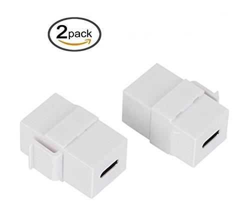 Plus Keystone Jack (Poyiccot USB C Keystone Jack, 2er-Pack, USB 3.1 Typ C Stecker, Keystone Einsatz Buchse auf Buchse für Wandplatte, Steckdose, Weiß)